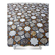 Geometric Marble Floor Design At Lahore Fort Shower Curtain