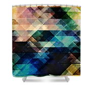Geometric Textural Colorations Shower Curtain