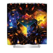 Geometry Amid Chaos Lights Shower Curtain