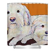 George And Henry Shower Curtain by Pat Saunders-White
