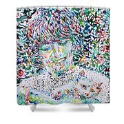 George Harrison With Cat Shower Curtain