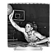 George Mikan Shower Curtain by Florian Rodarte