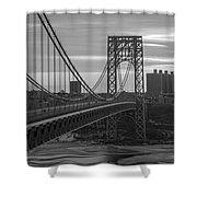 George Washington Bridge Frame Work Bw Shower Curtain