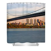 George Washington Bridge In Autumn Shower Curtain