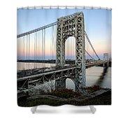George Washington Bridge Sunset Shower Curtain by Susan Candelario