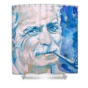 Georges Brassens - Watercolor Portrait Shower Curtain