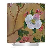 Georgia Flowers - Apple Blossoms- Stretched Shower Curtain