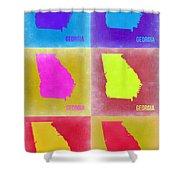 Georgia Pop Art Map 2 Shower Curtain