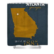 Georgia Tech University Yellow Jackets Atlanta College Town State Map Poster Series No 043 Shower Curtain