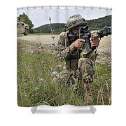 Georgian Army Sergeant Aims An M4 Shower Curtain