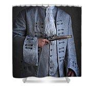 Georgian Gentleman Holding A Flintlock Pistol Shower Curtain