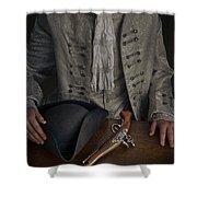 Georgian Man With Tricorne Hat And Flintlock Pistol Shower Curtain