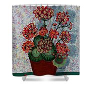 Geraniums In A Copper Pot Shower Curtain