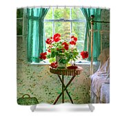 Geraniums In The Bedroom Shower Curtain