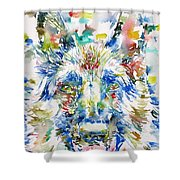 German Shepherd - Watercolor Portrait Shower Curtain
