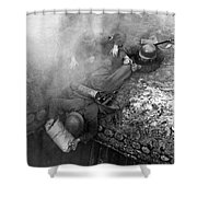 German Soldiers Launch A Suprise Attack On Bunker 17. Shower Curtain