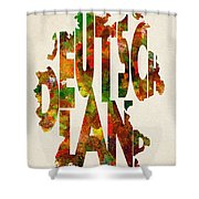 Germany Typographic Watercolor Map Shower Curtain