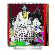 Geronimo's Wife Ta-ayz-slath And Child Unknown Date Collage 2012 Shower Curtain
