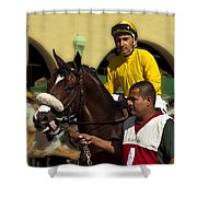 Getting Ready - Jockey And Horse For The Race Shower Curtain