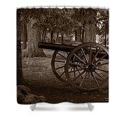 Gettysburg Cannon B W Shower Curtain