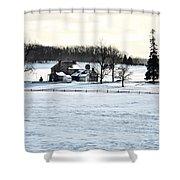 Gettysburg Farm In The Snow Shower Curtain