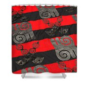 Ghana In Red And Black Shower Curtain