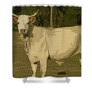Ghost Cow 2 Shower Curtain