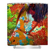 Ghost Horse Shower Curtain by Skip Hunt