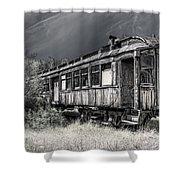 Ghost Passenger Train Coach Shower Curtain