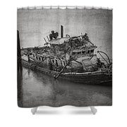Ghost Steamer In Bw Shower Curtain
