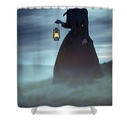 Ghostly Victorian Woman With A Lamp In Fog At Night Shower Curtain