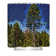 Giant Abstract Tree Shower Curtain