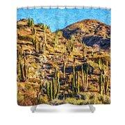 Giant Cordon Cactus Shower Curtain