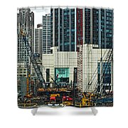 Downtown Chicago High Rise Construction Site Shower Curtain