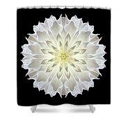Giant White Dahlia Flower Mandala Shower Curtain by David J Bookbinder