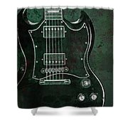 Gibson Sg Standard Green Grunge With Skull Shower Curtain