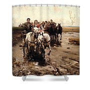 Giddy Up Shower Curtain by Alfred von Wierusz-Kowalski