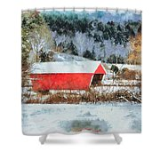 Gifford Covered Bridge In Winter Shower Curtain
