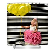 Gillian With Yellow Balloons Shower Curtain