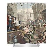 Gin Lane, Illustration From Hogarth Shower Curtain