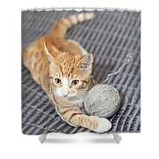 Ginger Cat With Yarn Ball Shower Curtain