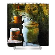 Ginger Jar And Buckets Shower Curtain