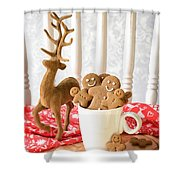 Gingerbread Family At Christmas Shower Curtain