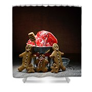 Gingerbread Family Shower Curtain