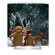 Gingerbread Family In Snow Shower Curtain