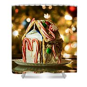 Gingerbread House Against A Background Of Christmas Tree Lights Shower Curtain