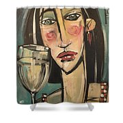 Gingham Girl With Wineglass Shower Curtain