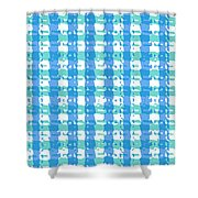 Gingham Glyphs Shower Curtain