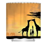 Giraffe Family Love Two Kids Shower Curtain