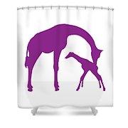 Giraffe In Purple And White Shower Curtain
